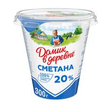 """СМЕТАНА """"ДОМИК В ДЕРЕВНЕ"""" 20% 300г"""