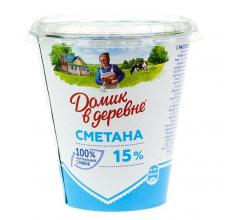 """СМЕТАНА """"ДОМИК В ДЕРЕВНЕ"""" 15% 300Г"""