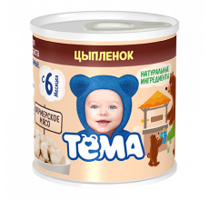 """Мясное пюре """"Тема"""" цыпленок 100г"""