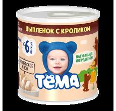 """Мясное пюре """"Тема"""" цыпленок-кролик 100г"""