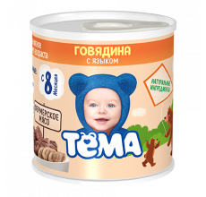 """Мясное пюре """"Тема"""" говядина-язык 100г"""