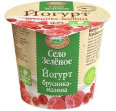 """Йогурт """"Село зеленое"""" брусника-малина 120г"""