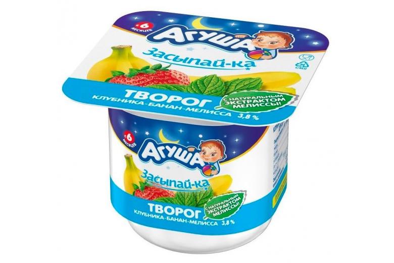 "Творог ""Агуша Засыпайка"" клубника-банан-мелисса 100г"