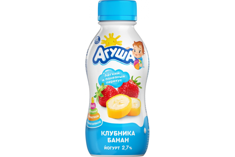 """Йогурт """"Агуша"""" клубника-банан 200г"""
