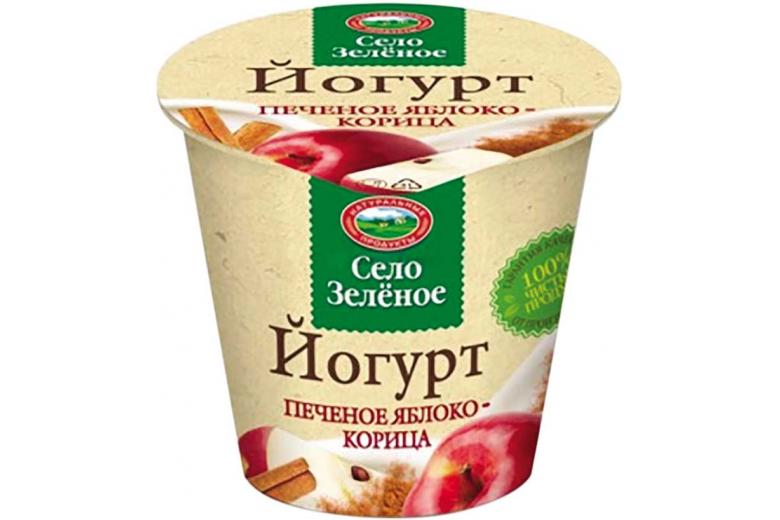 "Йогурт ""Село зеленое"" печеное яблоко-корица 120г"